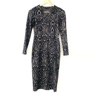 Topshop Black Knit Paisley Bodycon Dress
